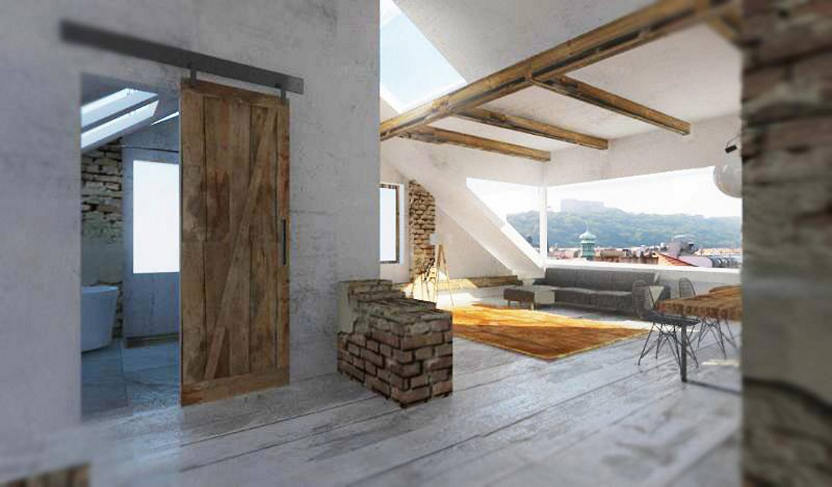 Attic space suitable for reconstruction